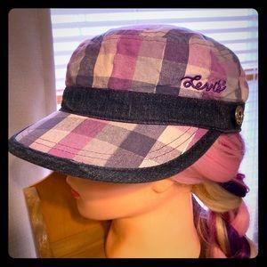 Levi's Checkered Denim Trim Woman's Conductor Hat